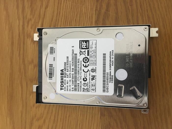 取り出したハードディスク