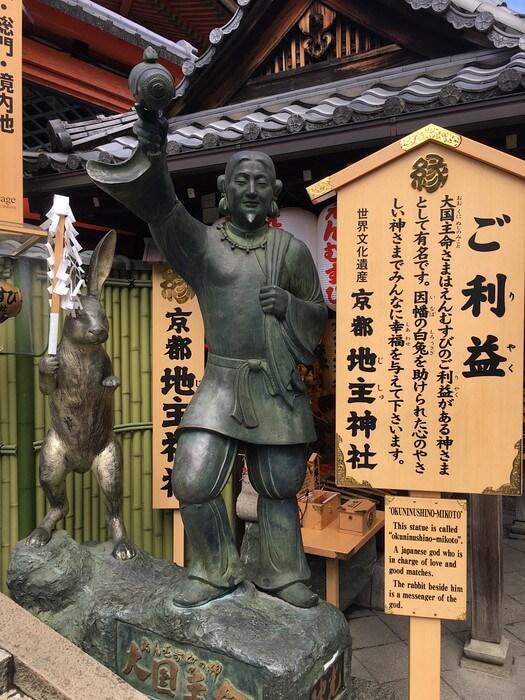 大国主命とウサギの像(地主神社)