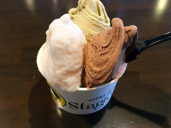トリプル(ピスタチオ、濃厚ショコラ、桃のなんとか)