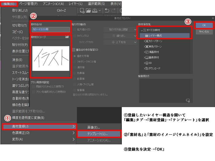 「編集」→「素材登録」→「テンプレート」から登録